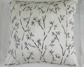 off white throw pillow cover with modern japanese bamboo embroidery 16 inch decorative cushion cover