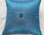 turquoise blue pillow w/ graphic, geometric lines embroidere  in silver