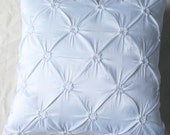 Pure white euro sham 26 inch silk pleated cushion cover  Custom Made- set of 2 pieces