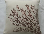 off white and brown coral branch pillow. Decorative beach pillow.  Notical inspired throw pillow cover. Custom made coral  trellis design.