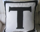 white and black monogram letter pillow 18 inches custom made