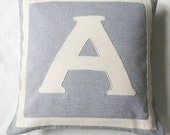 gray and off white   monogrammed pillow cover.  customized and personalized letter initial alphabet pillow. 16 inch