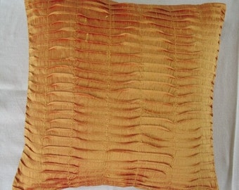 Golden yelow dupioni silk pleated  pillows  textured pillow Deceretive throw  pillow cushion  made  18inch  2 in  stock.