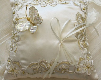 wedding Ring Pillow off white - can be customized - colour. Ivary ring cushion hand maid sequin butterfly  8 inch custom  made.