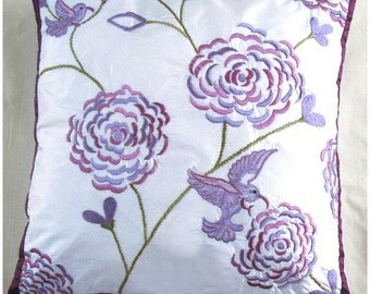 HUMMING BIRD cushion cover -white with lilac embroidery 18X18 inch decorative pillow