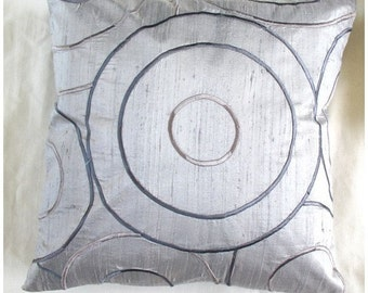 Embroidered gray silk throw pillow with retro circle design 20 inch cushion cover 2 pieces 15% off