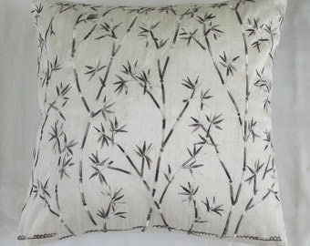Silk off white cushion cover - modern bamboo embroidery- 16 inch- STOCK CLEARANCE SALE