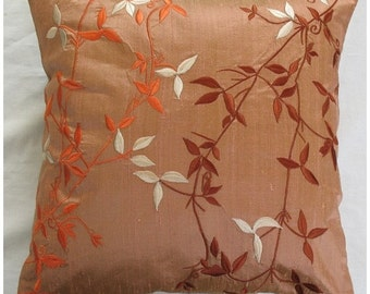 Light Brown raw silk throw pillow cover with creeper embroidered in orange, cream and chocolate.  16 inch cushion cover-STOCK CLEARANCE SALE