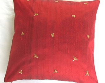 red silk cushion cover with vintage style floral embroidery 16 inch decorative throw pillow