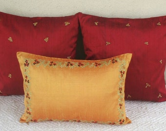 gold oblong dupioni silk boudoir pillow with red flower embroidery  decorative throw  cushion. custom  made