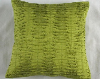 lime green pintuck throw pillow 16X16  cushion cover modern contemporary design