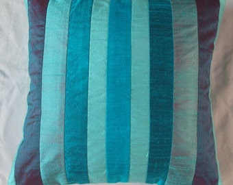 teal blue striped throw pillow cover decorative cushion cover 16 inch 1 in stock
