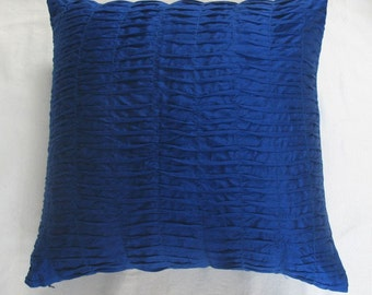 Royal blue pintuck art silk pillow 16 inches in stock