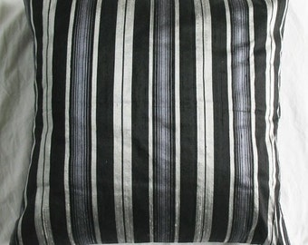 50% OFF- Striped black- silver silk cushion cover 16 inch decorative throw pillow cover last 2 in stock
