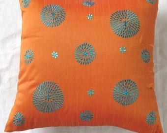 orange  blue  circle throw pillow with embroidery 22  inch decorative cushion cover