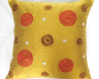mustard yellow gold throw pillow cover with red and brown circle design 16 inch