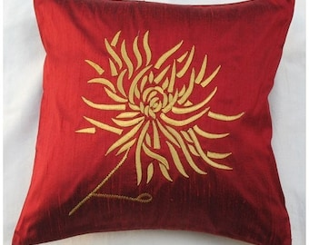 red chrysanthemum throw pillow -red with gold embroidery. Spring pillow  16X16 inch decorative cushion cover