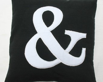 Ampersand throw pillow 18inch black and white and cushion cover