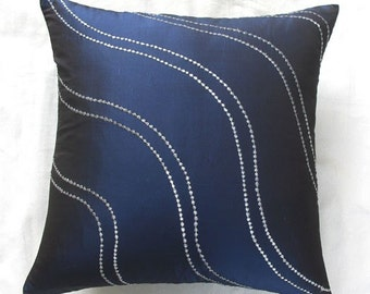 midnight blue throw pillow  w/ silver wave embroidery 18 inch decorative pillow cover