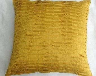 Saffron yellow art silk pintuck cushion cover 18 inch decorative throw pillow cover 6 in Stock ready to ship.