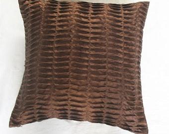 chocolate brown art silk pin tuck throw pillow and cushion cover 16 inch cushion made.