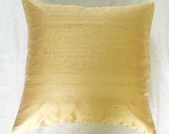 solid honey gold cushion cover and throw pillow 18 inch 1 in  stock