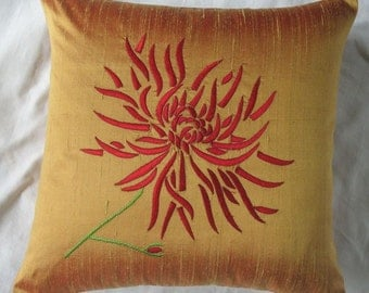 gold  throw pillow with red chrysanthemum flawer  embroidery 16 inch  decorative cushion cover