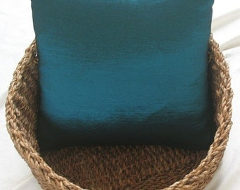 teal blue throw pillow. shiny teal  blue  pillow.  decorative teal  blue pillow.  16 inch  cushion cover. custom made