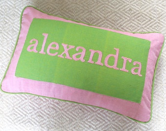 personalized word name pillow pink and apple green cushion covers 12X18 inch -  Custom made