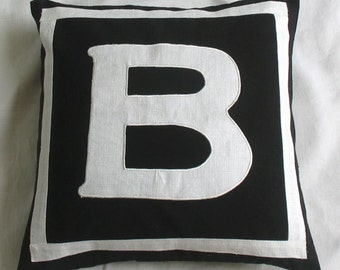 Black monogram pillow. Initial pillow cover. Alphabet throw pillow cover. 18 inch custom made - personalized pillow cover.