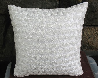 White Ruffled pillow  with roses 16 inch cushion cover decaretve  pillow.  In stock 20%off