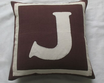Custom made monogram pillows -18 inches brown and ivory