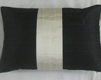 black and cream boudoir throw pillow oblong rectangle cushion 12X18 inches in stock