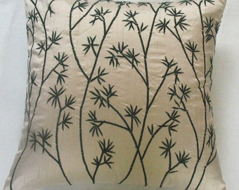 cream decorative  pillow cover with dark green bamboo embroidery  design 18 inch  cushion made