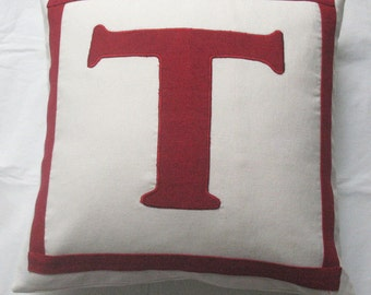 off white and dark red monogrammed pillow. Personalised cushion  covers.  Custom  made 18 inch