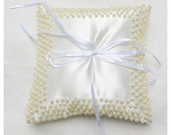 Wedding Ring Pillow for Ring bearer off white with cream pearl details CUSTOM MADE