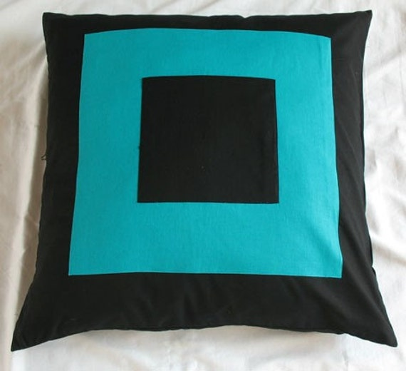 floor pillow cover black with turquoise square graphic pillow cover  earo shame  pillow cover  26inch