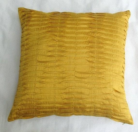 Yellow Silk Throw Pillows : Saffron yellow silk pintuck cushion cover 16 by Comfyheavenpillows