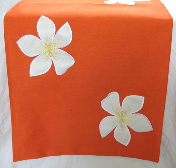 Orange Frangipani  table runner with white  applique flowers 52x 14