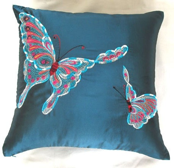 teal blue butterfly  cushion cover  18 inch decorative throw pillow