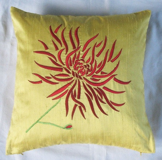 Yellow Embroidered Throw Pillows : Yellow Chrysanthemum throw pillow with red embroidery 16X16