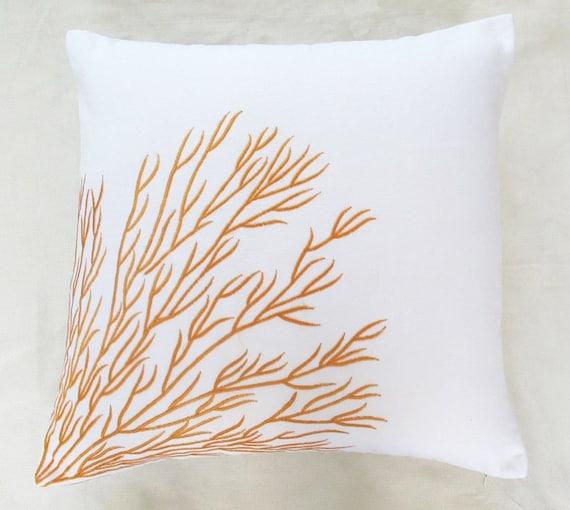 white & orange coral branch pillow 16 inch coral trellis cushion cover