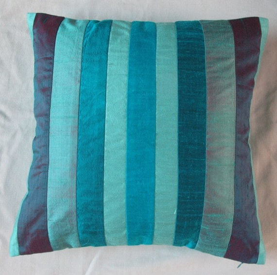 Teal Blue Throw Pillow : teal blue striped throw pillow cover decorative cushion cover