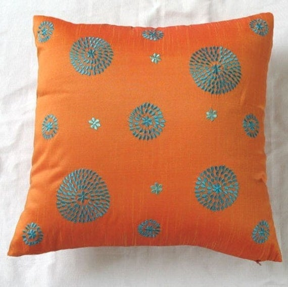 orange and turquoise blue  circle embroided pillow 18inch decorative cushion cover. Custom  made