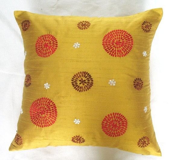 mustard yellow gold throw pillow cover with red and brown