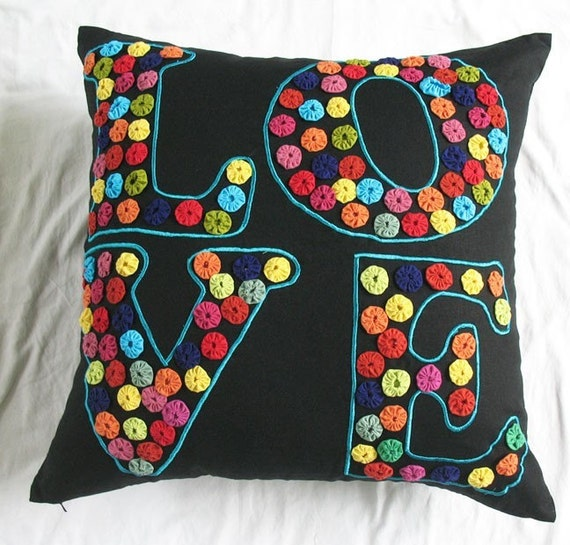 Love floor pillow and cushion cover - 22X22 inch can be custom made in any size.