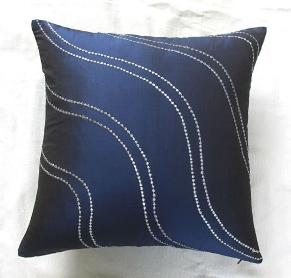 navy blue throw pillow with silver wave embroidery decorative cushion cover- STOCK CLEARANCE 20% OFF- 1 in stock