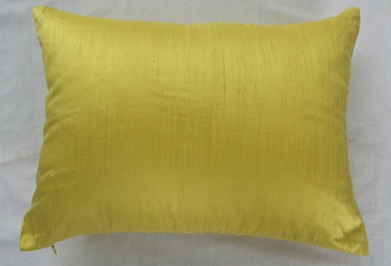 solid bright yellow oblong cushion cover and pillow 12X18 custom made in any size