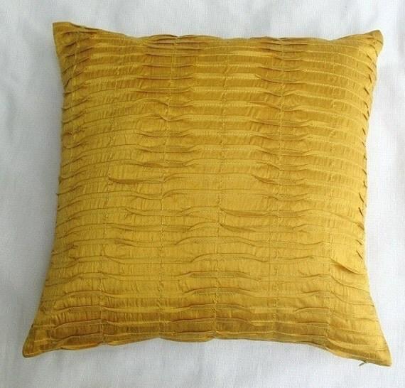 Saffron yellow art silk pintuck cushion cover 18 inch decorative throw pillow cover cushion  made 4 in  stock.