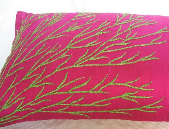 Fuchsia Pink silk boudoir decorative pillow cover 12X18 inch  IN STOCK